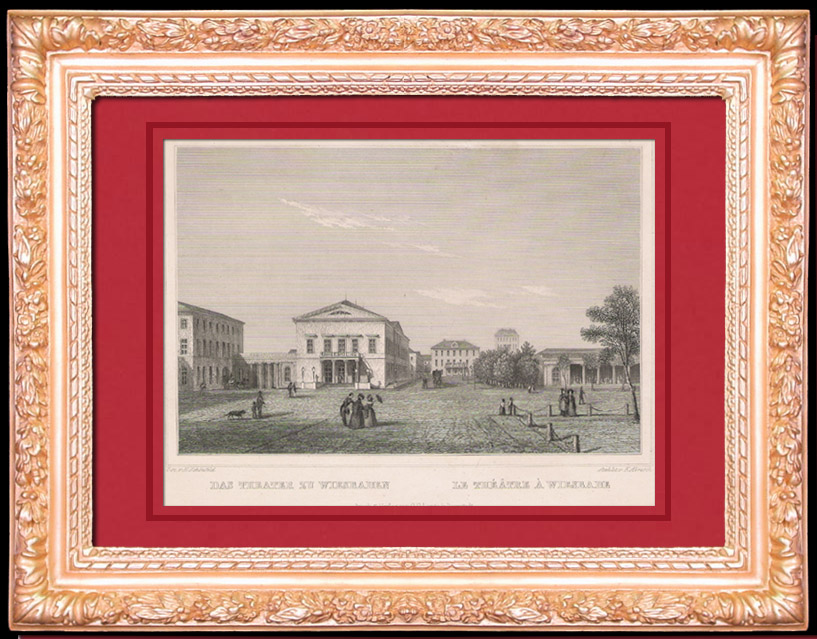 Antique Prints & Drawings | State Theater Colonnade - Wiesbaden - Hesse (Germany) | Intaglio print | 1845