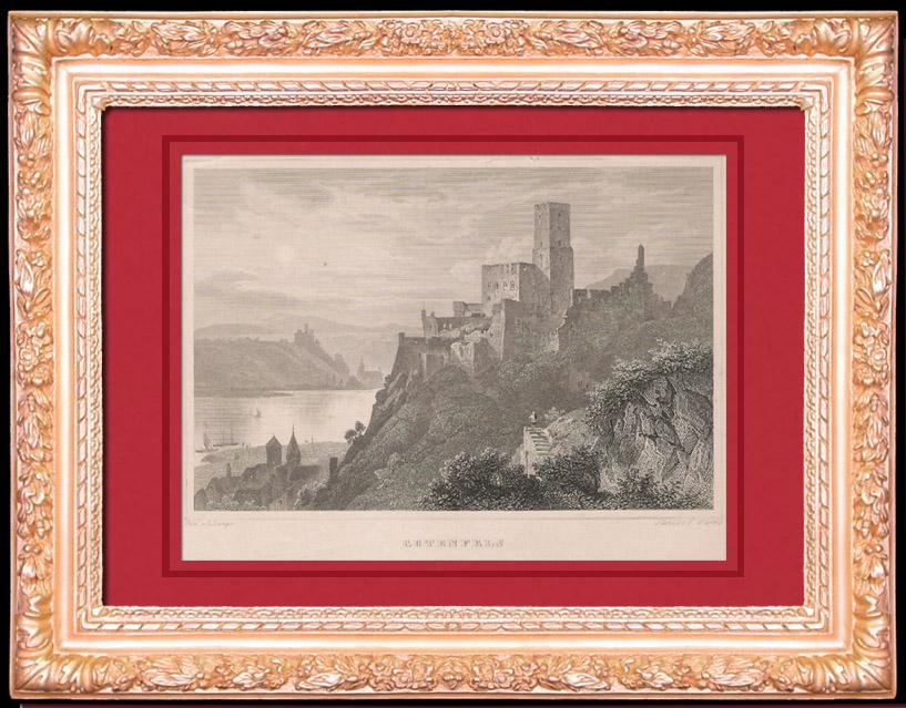 Gravures Anciennes & Dessins   Chateau -  Forteresse de Gutenfels  - Hesse (Allemagne)   Taille-douce   1850