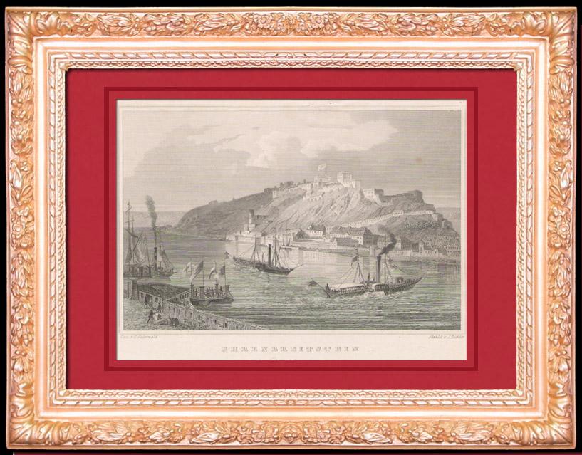 Gravures Anciennes & Dessins   Chateau -  Forteresse d' Ehrenbreitstein  - Coblence - Rhénanie-Palatinat (Allemagne)   Taille-douce   1840