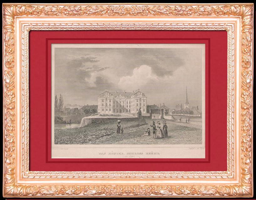 Antique Prints & Drawings   Castle - The Augustusburg Palace in Brühl - North Rhine-Westphalia (Germany)   Intaglio print   1840