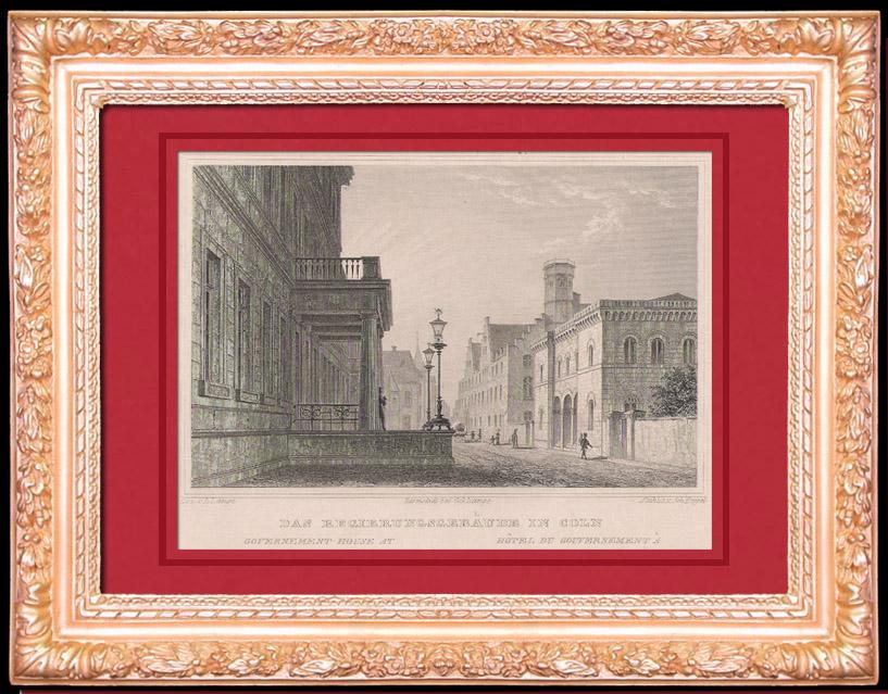 Gravures Anciennes & Dessins | Hôtel du Gouvernement à Cologne - Rhénanie-du-Nord-Westphalie (Allemagne) | Taille-douce | 1844
