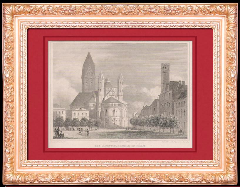 Gravures Anciennes & Dessins | L'église Apostolique des Saints Apotres à Cologne - Rhénanie-du-Nord-Westphalie (Allemagne) | Taille-douce | 1844