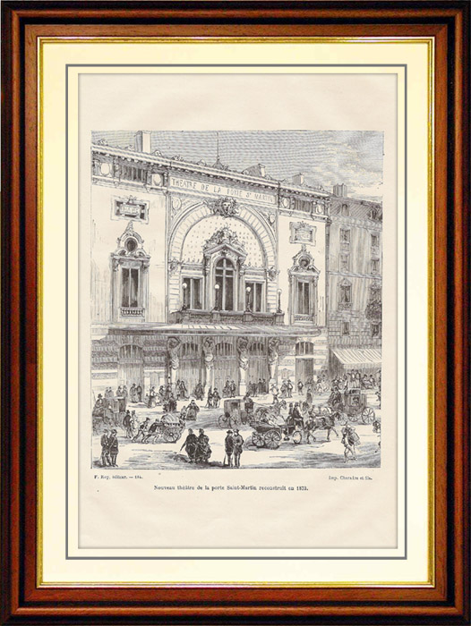 Antique Prints & Drawings | History and Monuments of Paris - Theatre of the Porte Saint Martin (France) | Wood engraving | 1881