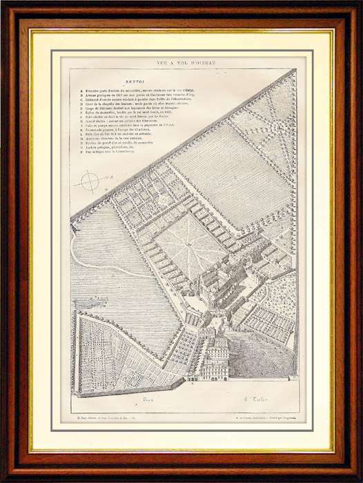 Antique Prints & Drawings | History and Monuments of Paris - Monastery of the Carthusian Monks (France) | Wood engraving | 1881