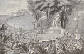 History and Monuments of Paris - French Revolution - The Fountain of the Regeneration  in the debris of the Bastille