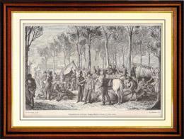Geschichte und Denkmäler von Paris - Kampieren der Kosaken und der englischen Truppen auf den Champs-Elysées in Paris (1815)