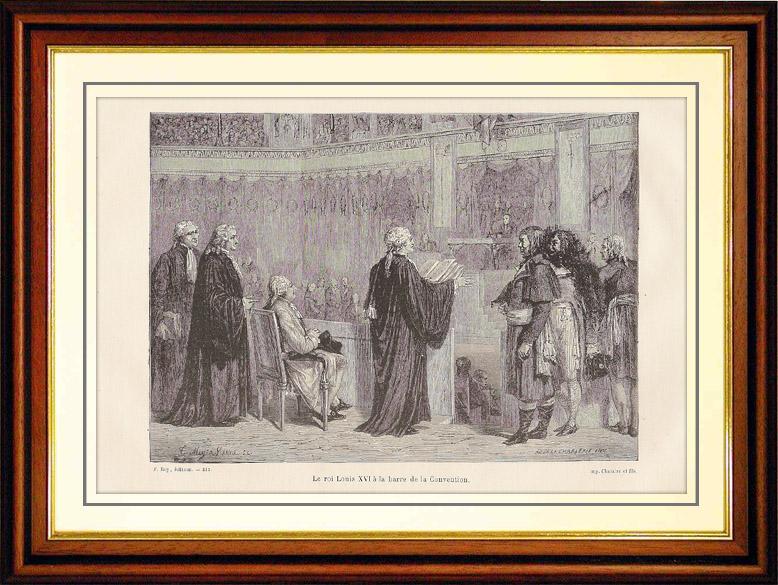Gravures Anciennes & Dessins | Histoire et Monuments de Paris - Révolution Française - Le Procès du Roi Louis XVI | Gravure sur bois | 1881