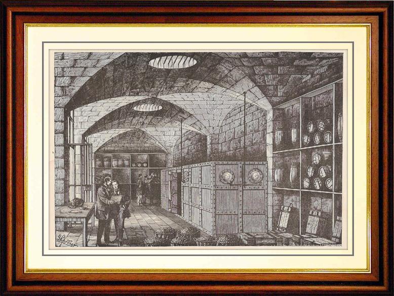 Gravures Anciennes & Dessins   Histoire et Monuments de Paris - Caves du Trésor de la Banque de France (1881)   Gravure sur bois   1881