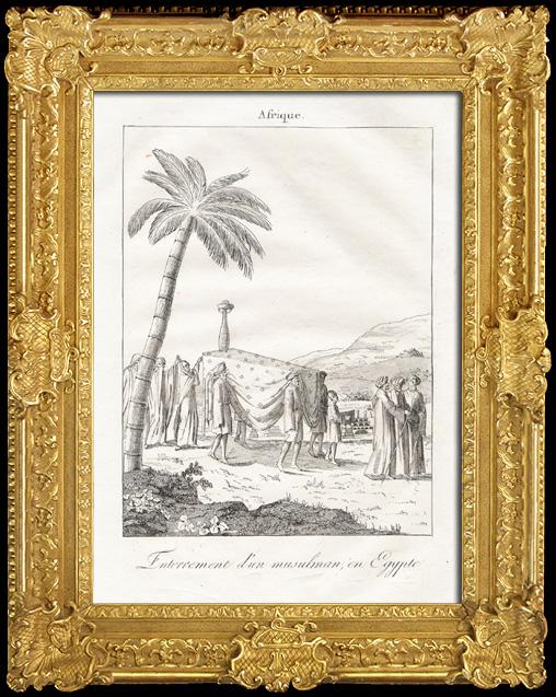 Gravures Anciennes & Dessins | Enterrement d'un musulman en Egypte - Rites Funéraires | Gravure sur cuivre | 1825