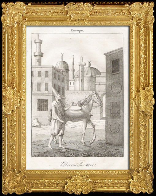 Gravures Anciennes & Dessins | Derwiche turc, distribuant de l'eau par esprit de charité aux Musulmans de Constantinople (Turquie - Derviche) | Gravure sur cuivre | 1825