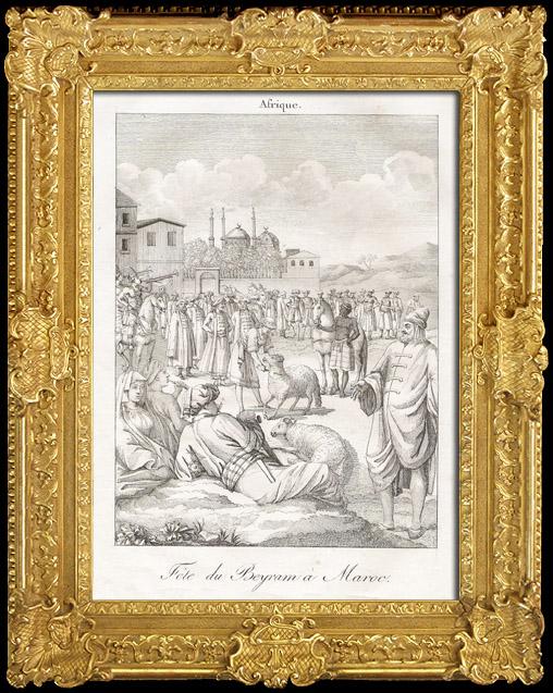 Gravures Anciennes & Dessins | Fête du Beyram à Maroc | Gravure sur cuivre | 1825