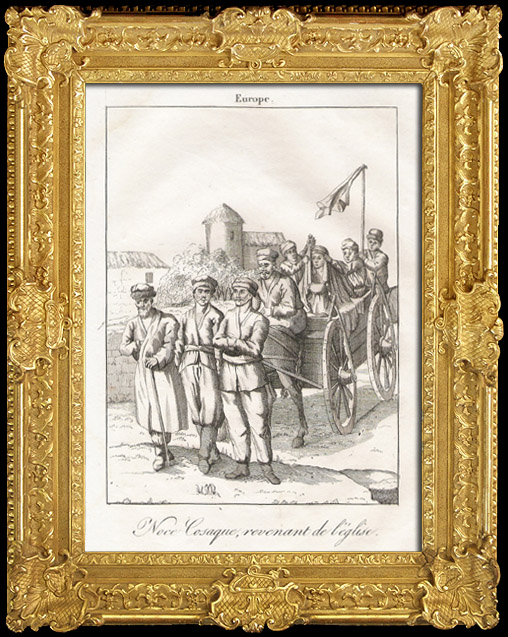 Antique Prints & Drawings   Wedding Cossack after the Church (Russia)   Copper engraving   1825