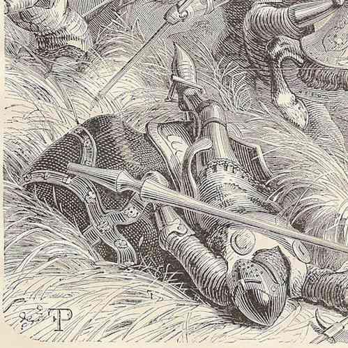 gravures anciennes bataille de montlh ry 1465 gravure sur bois 1881. Black Bedroom Furniture Sets. Home Design Ideas