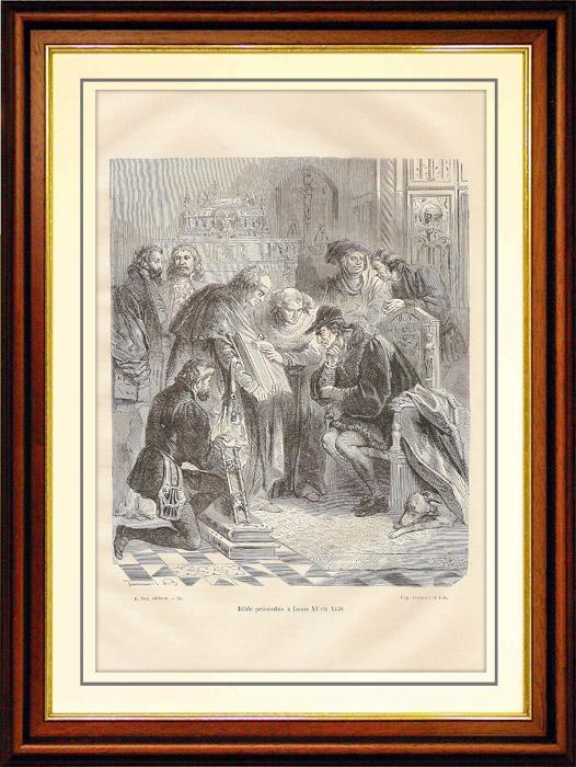 Gravures Anciennes & Dessins | Bible présentée à Louis XI, Roi de France (1470) | Gravure sur bois | 1881
