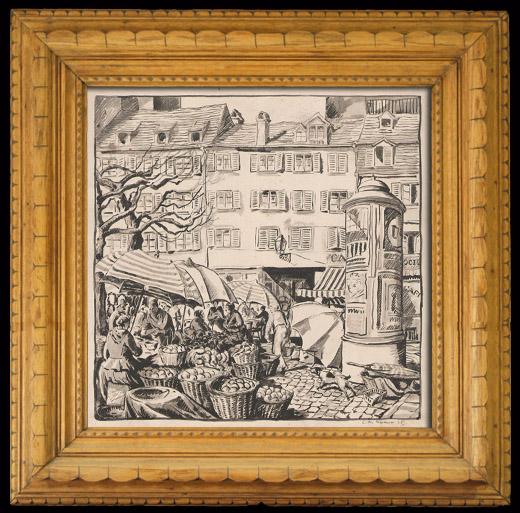 Gravures Anciennes & Dessins   Place du Marché-Neuf de Strasbourg (Alsace - France)   Lithographie   1925