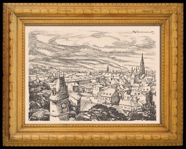 Antique Prints & Drawings | View of Mulhouse (Alsace - France) | Lithography | 1925