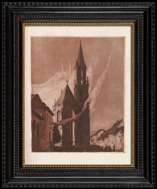 Antique Prints & Drawings | Feux de joie de la St-Thiébaut - Church (Alsace - France) | Lithography | 1920