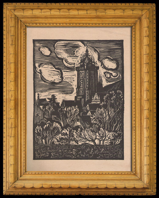 Antique Prints & Drawings | Colmar Cathedral (Alsace - France) | Wood engraving | 1920