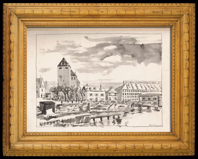 Antique Prints & Drawings | Les Ponts couverts in Strasbourg (Alsace - France) | Lithography | 1925
