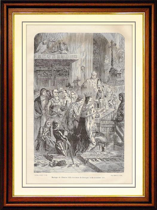 Gravures Anciennes & Dessins   Mariage de Charles VIII avec Anne de Bretagne le 13 Décembre 1491   Gravure sur bois   1881