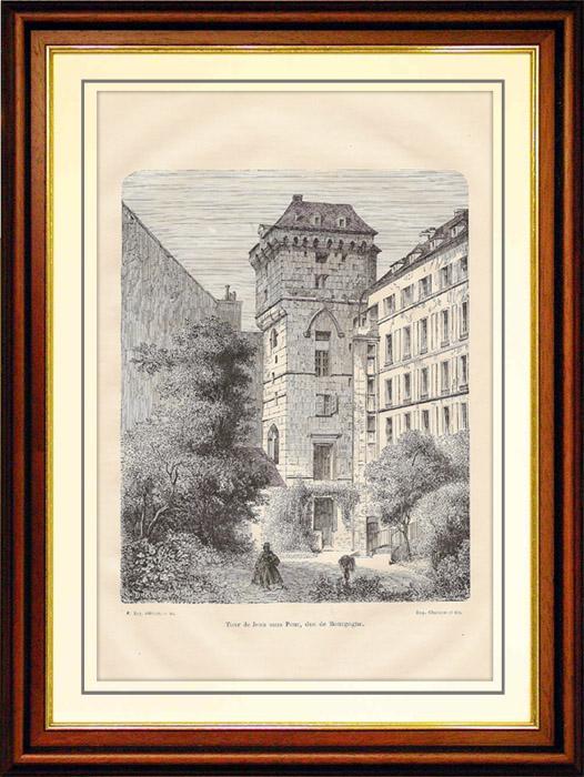 Gravures Anciennes & Dessins | Tour de Jean sans Peur, Duc de Bourgogne | Gravure sur bois | 1881