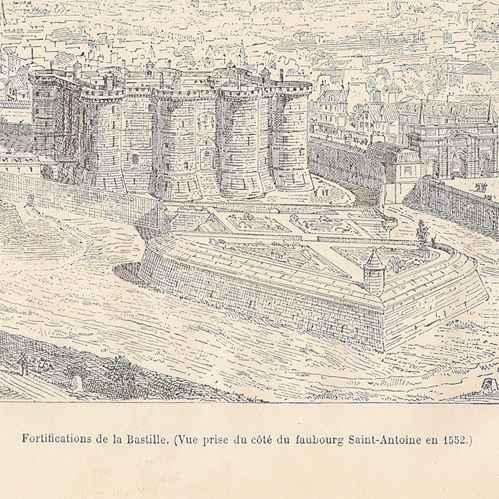 gravures anciennes fortifications de la bastille 1552 gravure sur bois 1881. Black Bedroom Furniture Sets. Home Design Ideas