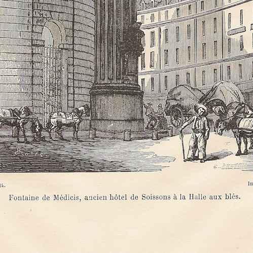 grabados antiguos fuente de m dicis en paris antiguo hotel de soissons al mercado a los. Black Bedroom Furniture Sets. Home Design Ideas
