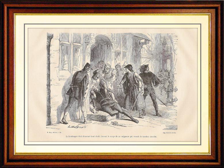 Gravures Anciennes & Dessins   Meurtre dans les rues de Paris   Gravure sur bois   1881