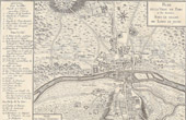 Antique Map of Paris and the Surroundings under the Reign of Louis VII of France (1120-1180)
