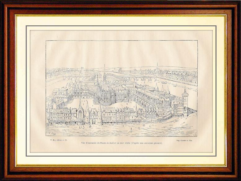 Gravures Anciennes & Dessins | Vue d'ensemble du Palais de Justice de Paris au XIIIème Siècle | Gravure sur bois | 1881