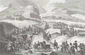 Stich von Napoléon Bonaparte beim Übergang über den Großen St. Bernhard