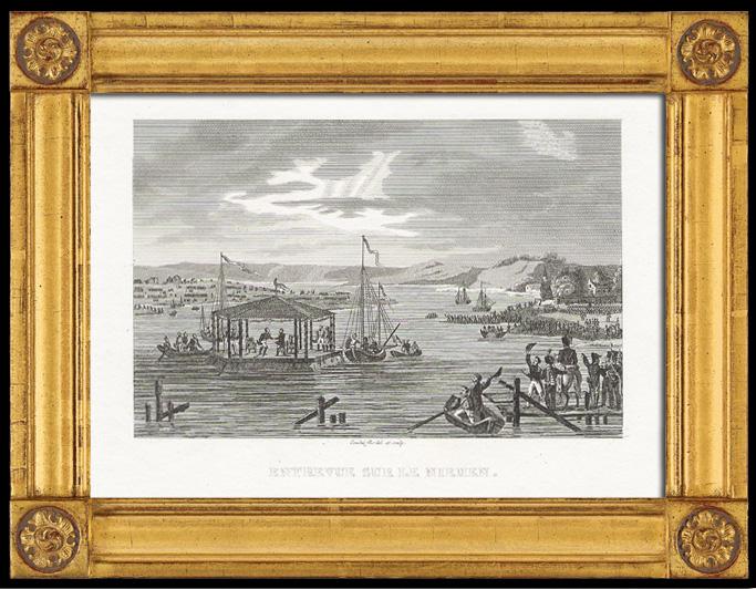 Gravures Anciennes & Dessins   Guerres Napoléoniennes - Entrevue de Napoléon et du Tsar Alexandre Ier de Russie sur le Fleuve Niémen (1807)   Taille-douce   1820
