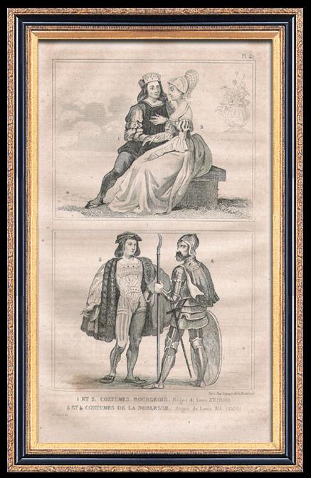 Gravures Anciennes & Dessins | Modes et Costumes Français du XVIème Siècle (16ème) - Cour du Roi de France - Louis XII (1500) | Taille-douce | 1834