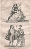 Grabado antiguo - Moda Francesa y Trajes - Estilo Siglo 16 / XVI - Corte del Rey de Francia - Luis XII (1500)