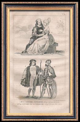 Moda Francesa y Trajes - Estilo Siglo 16 / XVI - Corte del Rey de Francia - Luis XII (1500)