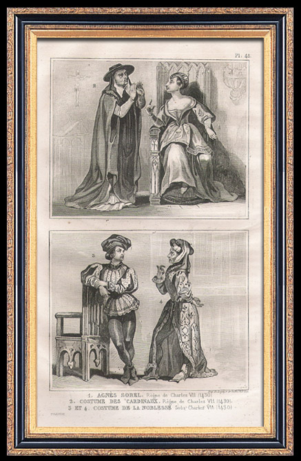 Antique Prints & Drawings | French Fashion and Costumes - 15th Century Style XV - Agnes Sorel - Court of the King of France - Charles VII (1430) | Intaglio print | 1834