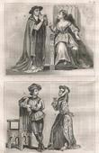 Stich von Französische Mode und Kostüme - 15. Jahrhundert - Agnès Sorel - Königliche Gericht - Karl VII, König von Frankreich (1430)