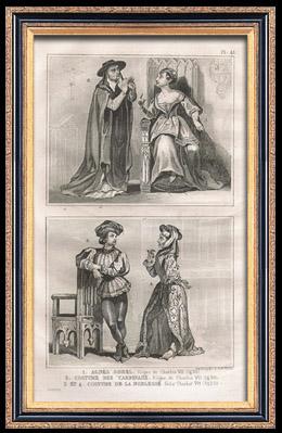 Franz�sische Mode und Kost�me - 15. Jahrhundert - Agn�s Sorel - K�nigliche Gericht - Karl VII, K�nig von Frankreich (1430)