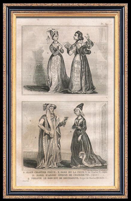 Grabados & Dibujos Antiguos   Moda Francesa y Trajes - Estilo Siglo 15 / XV - Corte del Rey de Francia - Carlos VI y Carlos VII (1400 / 1422 / 1430)   Grabado en talla dulce   1834