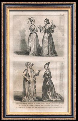 Französische Mode und Kostüme - 15. Jahrhundert - Königliche Gericht - Karl VI und Karl VII, König von Frankreich (1400 / 1422 / 1430)
