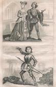 Stich von Französische Mode und Kostüme - 15. Jahrhundert - Johanna von Orleans - Königliche Gericht - Karl VII, König von Frankreich (1430)