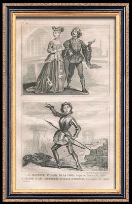 Franz�sische Mode und Kost�me - 15. Jahrhundert - Johanna von Orleans - K�nigliche Gericht - Karl VII, K�nig von Frankreich (1430)
