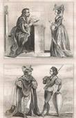 Stich von Französische Mode und Kostüme - 15. Jahrhundert - Befehl von Notre-Dame der Distel - Königliche Gericht - Karl VI, König von Frankreich (1400)