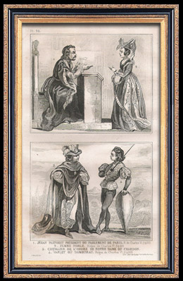 Franz�sische Mode und Kost�me - 15. Jahrhundert - Befehl von Notre-Dame der Distel - K�nigliche Gericht - Karl VI, K�nig von Frankreich (1400)
