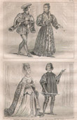 French Fashion and Costumes - 14th Century Style XIV - Court of the King of France - Charles VI (1393 / 1395)
