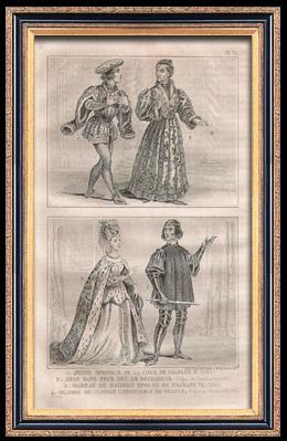 Französische Mode und Kostüme - 14. Jahrhundert - Königliche Gericht - Karl VI, König von Frankreich (1393 / 1395)