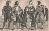 Stich von Französische Mode und Kostüme - 16. Jahrhundert - Königliche Gericht - Heinrich IV, König von Frankreich (1590)
