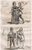 Stich von Französische Mode und Militärische Kostüme - 14. Jahrhundert - Bürger - Königliche Gericht - Johann II, König von Frankreich (1350)