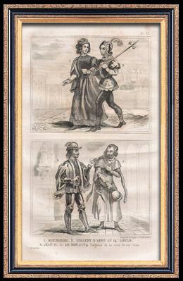 Französische Mode und Militärische Kostüme - 14. Jahrhundert - Bürger - Königliche Gericht - Johann II, König von Frankreich (1350)