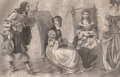 Stich von Französische Mode und Militärische Kostüme - 17. Jahrhundert - Königliche Gericht - Ludwig XIV, König von Frankreich (1650)